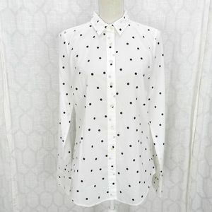 J. Crew Perfect Shirt Sz 10T White Polka Dot